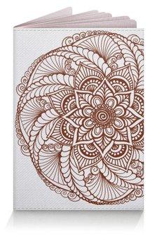"""Обложка для паспорта """"Цветок в стиле росписи хной"""" - цветы, орнамент, этно, мехенди"""
