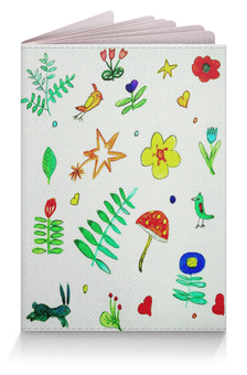 "Обложка для паспорта ""Обложка Финская тема"" - сердечки, птички, цветочки, звездочки"