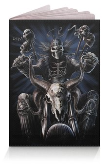 """Обложка для паспорта """"БАЙКЕР. BIKER"""" - черепа, стиль, скелет, мотоцикл, арт фэнтези"""