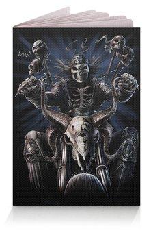 "Обложка для паспорта ""БАЙКЕР. BIKER"" - черепа, стиль, скелет, мотоцикл, бандана"