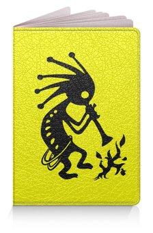 """Обложка для паспорта """"Кокопелли"""" - знаки, индейцы, дух, изобилие, плодородие"""
