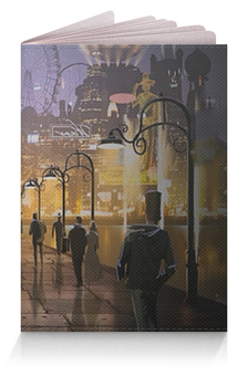 """Обложка для паспорта """"Город"""" - город, мостовая, фонари, площадь"""