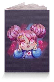 """Обложка для паспорта """"Влюбленная аниме девочка"""" - любовь, розовый, чиби, гном, chibi"""