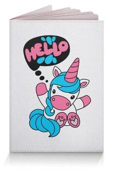 """Обложка для паспорта """"Unicorn"""" - розовый, единорог, голубой, привет, надпись"""