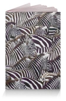 """Обложка для паспорта """"Зебры """" - черно-белая, полоска, зебра, акварель, стадо"""