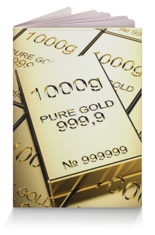 "Обложка для паспорта ""1000g"" - золото, gold, паспорт, слиток"