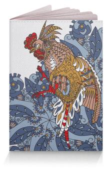 """Обложка для паспорта """"петушиное разноцветие"""" - узор, птица, символ года, злой, петух"""