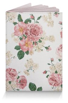 """Обложка для паспорта """"Цветочный фон"""" - цветок, лист, роза, шиповник, бутон"""