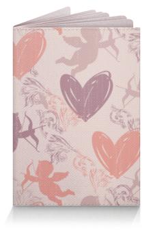 """Обложка для паспорта """"Купидон и сердечки"""" - любовь, сердечки, купидон"""