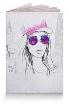 """Обложка для паспорта """"Фэшн иллюстрация. Девушка в розовых очках"""" - арт, мода, стильный, фэшн, модный"""