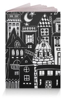 """Обложка для паспорта """"Город вместе с тобой"""" - ночь, дом, луна, путешествие, турист"""