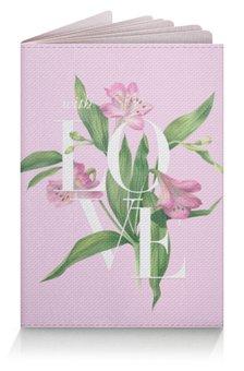 "Обложка для паспорта ""With love"" - watercolor flowers, with love, акварель, любовь, цветы"