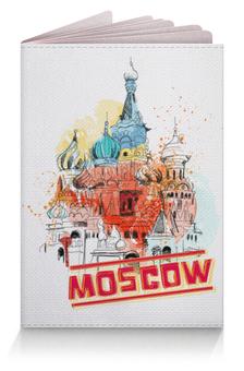 """Обложка для паспорта """"Москва"""" - москва, россия, храм, красная площадь, василий блаженный"""