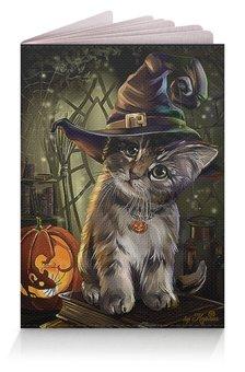 """Обложка для паспорта """"КОШКИ ФЭНТЕЗИ"""" - стиль, котенок, шляпа, тыква, хеллоуин"""