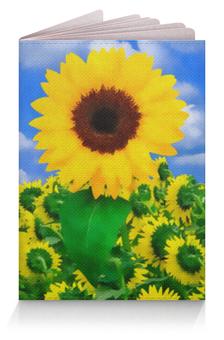 """Обложка для паспорта """"Подсолнух"""" - цветы, солнце, облака, поле, подсолнух"""