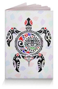 """Обложка для паспорта """"Загран для поездок к морю"""" - солнце, море, мозаика, черепаха, маори"""