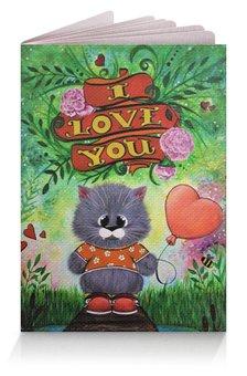 """Обложка для паспорта """"Кот с шариком"""" - любовь, кот, лето, шарик, iloveyou"""