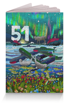 """Обложка для паспорта """"Мурманск. 51 регион"""" - олени, северное сияние, мурманск, 51 регион, murmansk"""