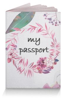 """Обложка для паспорта """"Цветочная обложка на паспорт"""" - цветы, пионы, венок, красивая обложка на паспорт, обложка на загранпаспорт"""