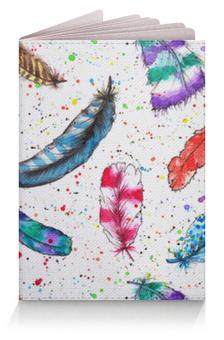 """Обложка для паспорта """"Перья"""" - рисунок, пятна, птицы, синий, перья"""