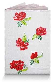 """Обложка для паспорта """"Обложка Красные цветы"""" - лето, красные цветы, цветы"""