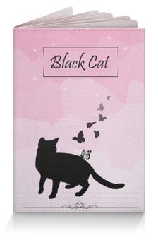 """Обложка для паспорта """"Маленькая черная кошка"""" - кошка, pink, blackcat"""