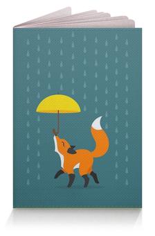 """Обложка для паспорта """"гуляющая лиса с зонтиком под дождём"""" - арт, дождь, зонт, лиса"""