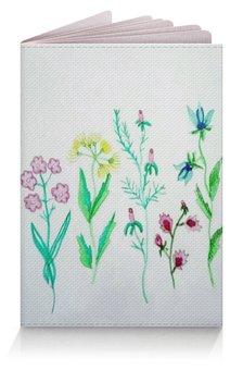 """Обложка для паспорта """"Обложка Луговые цветы"""" - луг, растения, листья, цветы"""