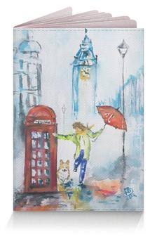 """Обложка для паспорта """"Прогулки по городу2"""" - животные, красный, собака, корги, вельшкорги"""