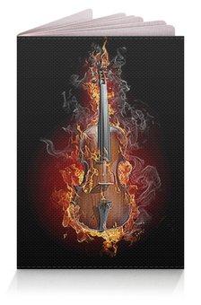 """Обложка для паспорта """"Музыка фэнтези"""" - огонь, скрипка, пламя, стиль эксклюзив креатив красота яркость, арт фэнтези"""