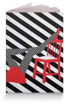 """Обложка для паспорта """"Женские ножки. Полоска, поп арт дизайн"""" - силуэт, черно-белый, стильный, модный, полосатый"""