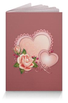 """Обложка для паспорта """"Сердца"""" - сердце, любовь, роза"""