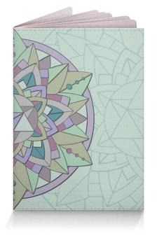 """Обложка для паспорта """"Обложка Sacred mint"""" - узор, мандала, паттерн, мята, визуализация"""