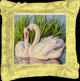 """Подушка простая """"Навсегда"""" - картина, лебеди, верность"""