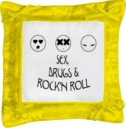 "Подушка простая ""Sex, Drugs and Rock'n Roll"" - юмор, популярные, креативно, сек"