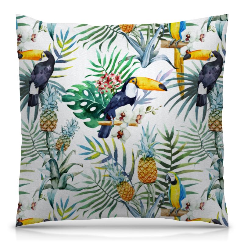 Подушка 40х40 с полной запечаткой Printio Тропические птицы