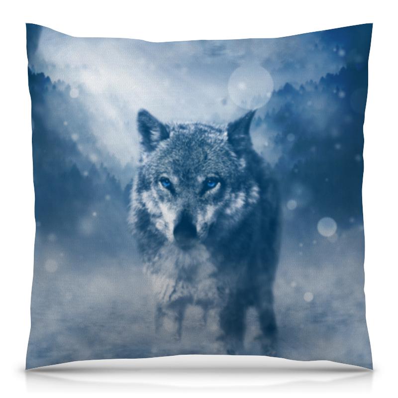 Подушка 40х40 с полной запечаткой Printio Волк с голубыми глазами цена
