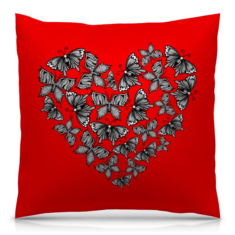 Printio Сердце из бабочек подушка 40х40 с полной запечаткой printio полет бабочек