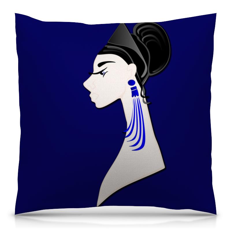 Подушка 40х40 с полной запечаткой Printio Девушка в синих сережках