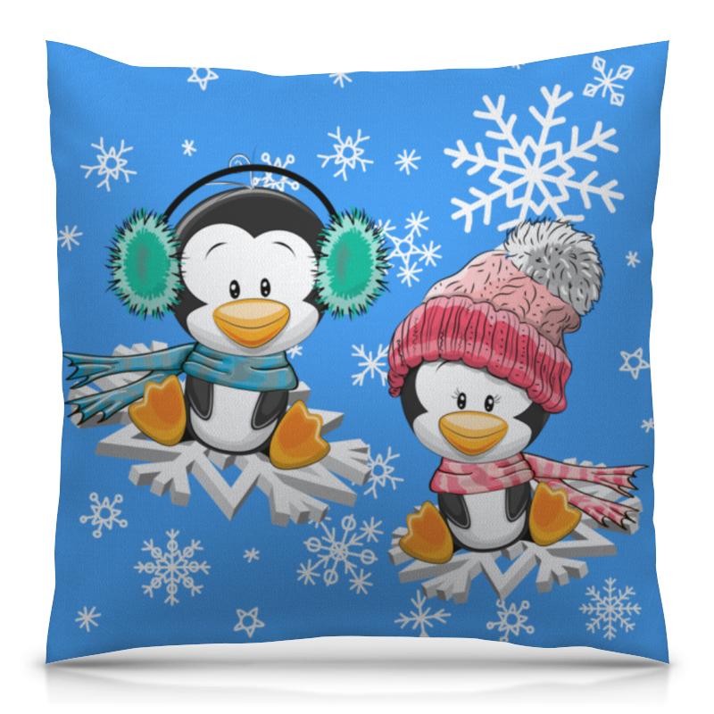 Printio Пингвин зимой подушка 40х40 с полной запечаткой printio пингвин в шляпе