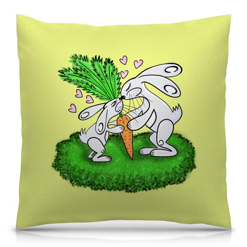 все цены на Подушка 40х40 с полной запечаткой Printio Зайчишки с морковкой онлайн