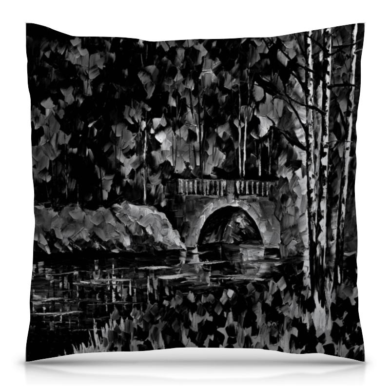 Подушка 40х40 с полной запечаткой Printio Черно-белый пейзаж
