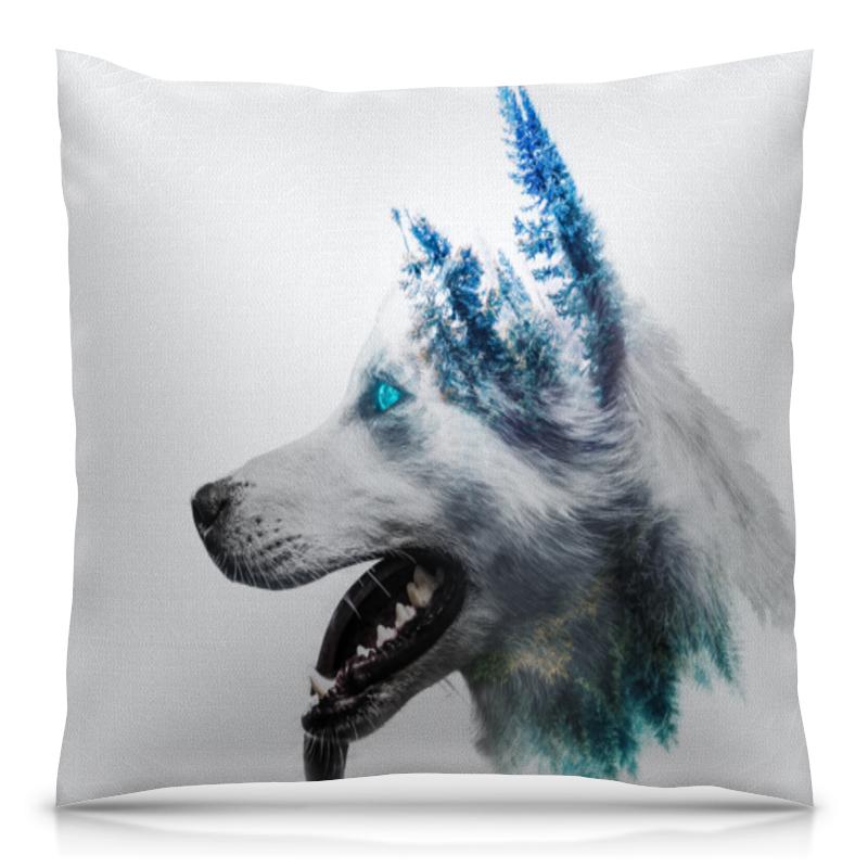 Подушка 40х40 с полной запечаткой Printio Белый волк цена