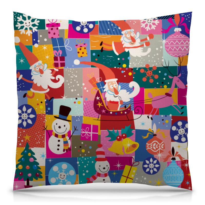 Подушка 40х40 с полной запечаткой Printio Санта и подарки сумка printio подарки