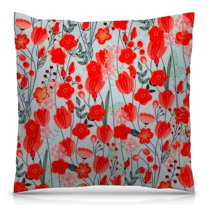 цена на Подушка 40х40 с полной запечаткой Printio Красные цветы