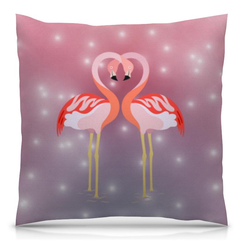 Подушка 40х40 с полной запечаткой Printio Влюбленные фламинго толстовка с полной запечаткой printio влюбленные фламинго