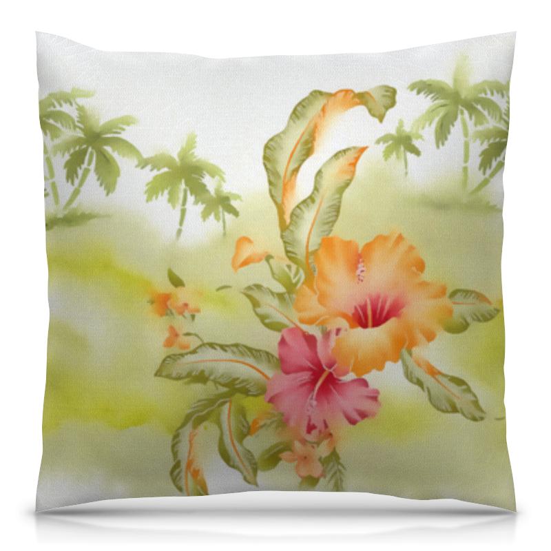 Подушка 40х40 с полной запечаткой Printio Тропические цветы, пальмы