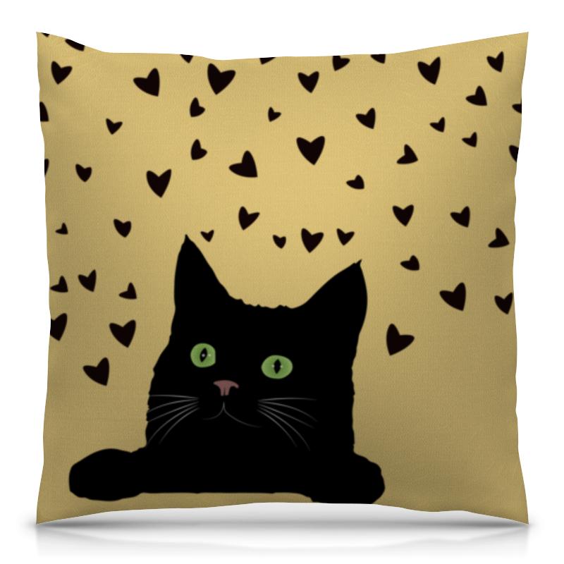 Подушка 40х40 с полной запечаткой Printio Кот с сердечками оранжевый кот подушка игрушка антистресс кот спортсмен