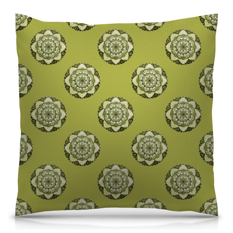 Подушка 40х40 с полной запечаткой Printio Мандалы на зеленом фоне футболка с полной запечаткой мужская printio фрактальная эзотерика мандалы