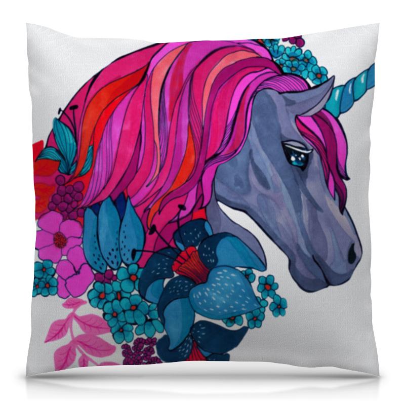 Фото - Подушка 40х40 с полной запечаткой Printio Единорог с розовыми волосами в цветах гобелен 180х145 printio единорог с розовыми волосами в цветах